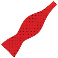 Self Tie Red Silk Bow Tie with Black Polka Dots